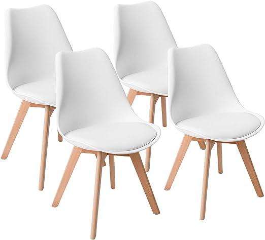 Amazon.com: Giantex Mid Century DSW - Juego de 4 sillas de ...