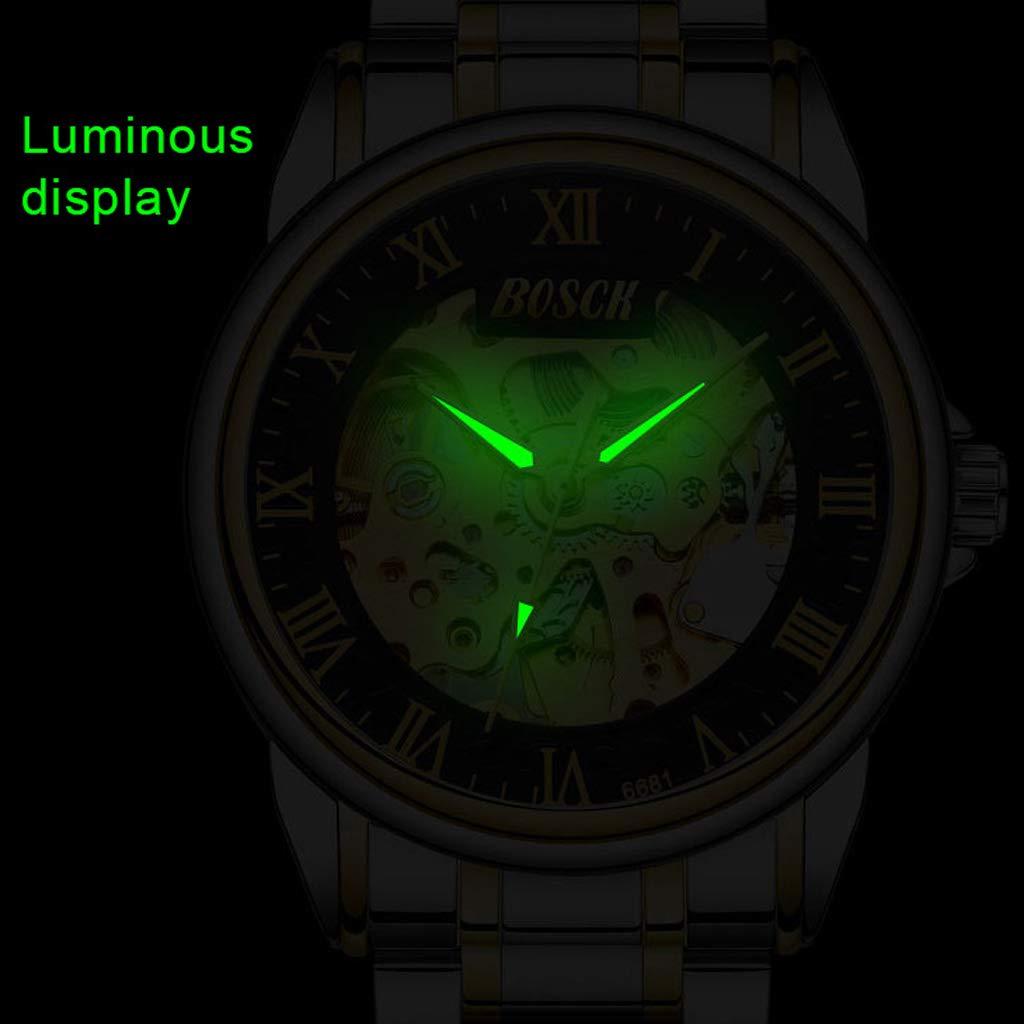 Skelett automatisk mekanisk armbandsur, vattentät lysande sport enkel vardaglig affärsklockor för män - flerfärgad E
