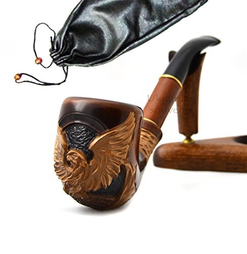 Pear-Wood-Hand-Carved-Tobacco-Smoking-Pipe-American-Eagle-IV-Pouch