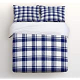 EZON-CH King Size Duvet Cover Set Comfortable Bedding Sets,Blue and White Scotland Plaid Pattern Soft Bed Sets for Adult Teen Kids Girls Boys,Include 1 Duvet Cover 1 Bed Sheets 2 Pillow Case