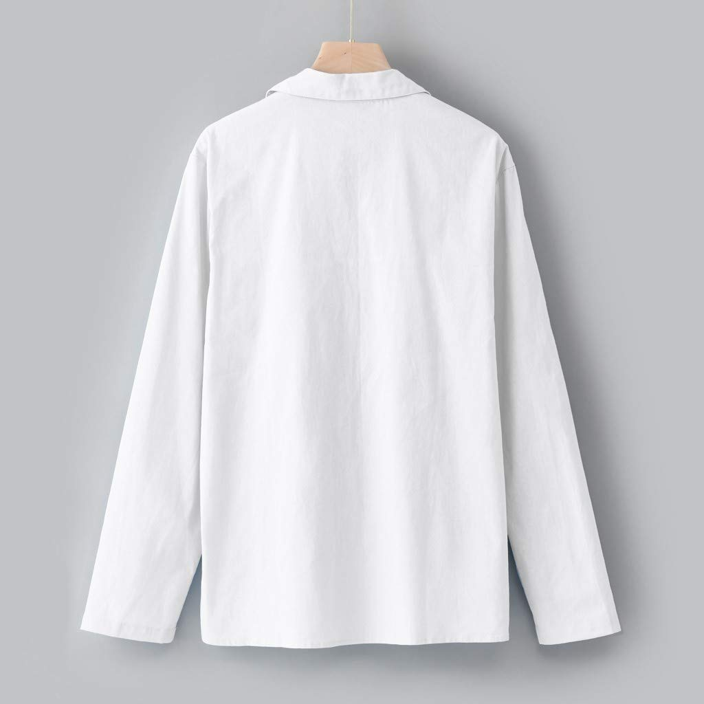 Benficial Mens Baggy Cotton Linen Solid Long Sleeve Drawsting Retro T Shirts Tops Blouses 2019 Summer