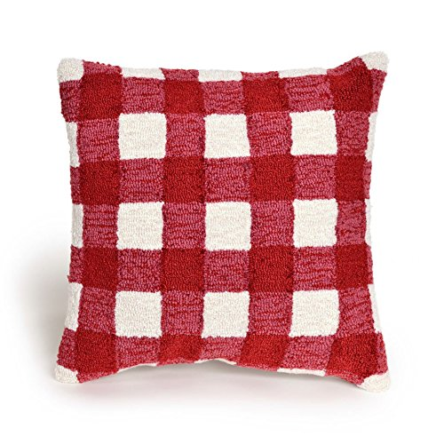 18 Square Cream and Red Gingham Pillow Outdoor Indoor Hand Made