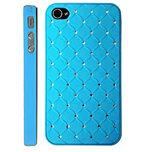 Sky Blue Luxury Stars Bling Crystal Diamond Apple Iphon 4, 4s at&t. Verizon, Sprint, C Spire Case Cover Hard Phone case Snap-on Cover Rubberized Frosted Matte Surface Hard Shells