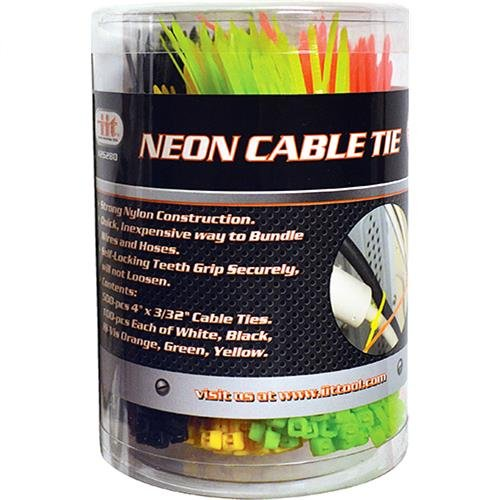 IIT 26280 Neon 4-Inch Cable Ties, 500-Piece by IIT   B00DIFTA64