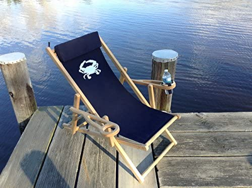 Tred Avon Lounger Navy with Embroided White Crab