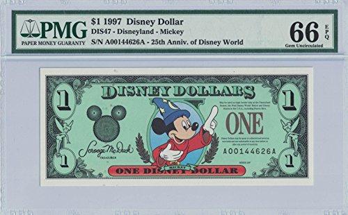 Disney Dollar 1997 Sorcerer Mickey $1 A00144626A PMG 66 EPQ Gem Unc ()