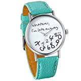 "JewelryWe Unisex Female Women Ladies Girls ""Whatever, I'm late anyway"" Love Gift Leather Strap Watches Quartz Wrist Watch (Green)"