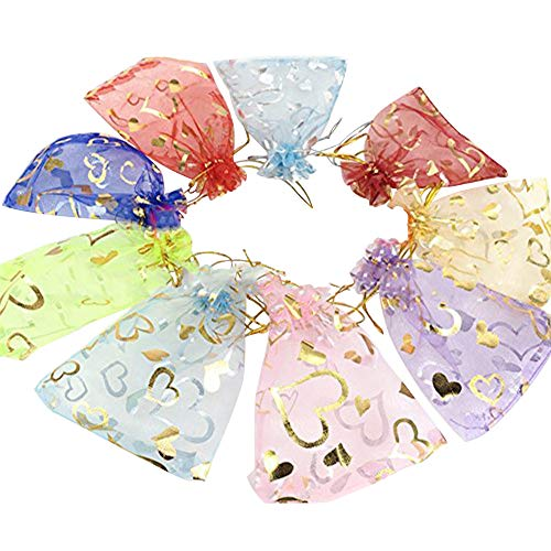 Wuligirl 100 PCS 3.54 by 4.72 inches Mixed Color Heart Organza Gift Bags with Drawstring edding Party Bags Candy Bags Jewelry Bags (100 pcs Mix Heart)