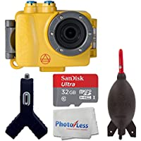 Intova DUB Photo & Video Action Camera (Sport Yellow) SanDisk Ultra 32GB microSDHC UHS-I Card + Giottos AA1900 Rocket Air Blaster Large + Dual USB Car Charger 1000mAh Port + Photo4Less Cleaning Cloth