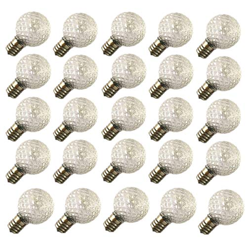 1/2 Intermediate Screw E17 Base - 25 Pack - G40 Crystal Style Globe Warm White LED Bulbs for E17/C9 Sockets with Screw Base, 0.5 Watt, for Decoration String Light, Indoor/Outdoor use, Dimmable, Durable, Break-Resistant