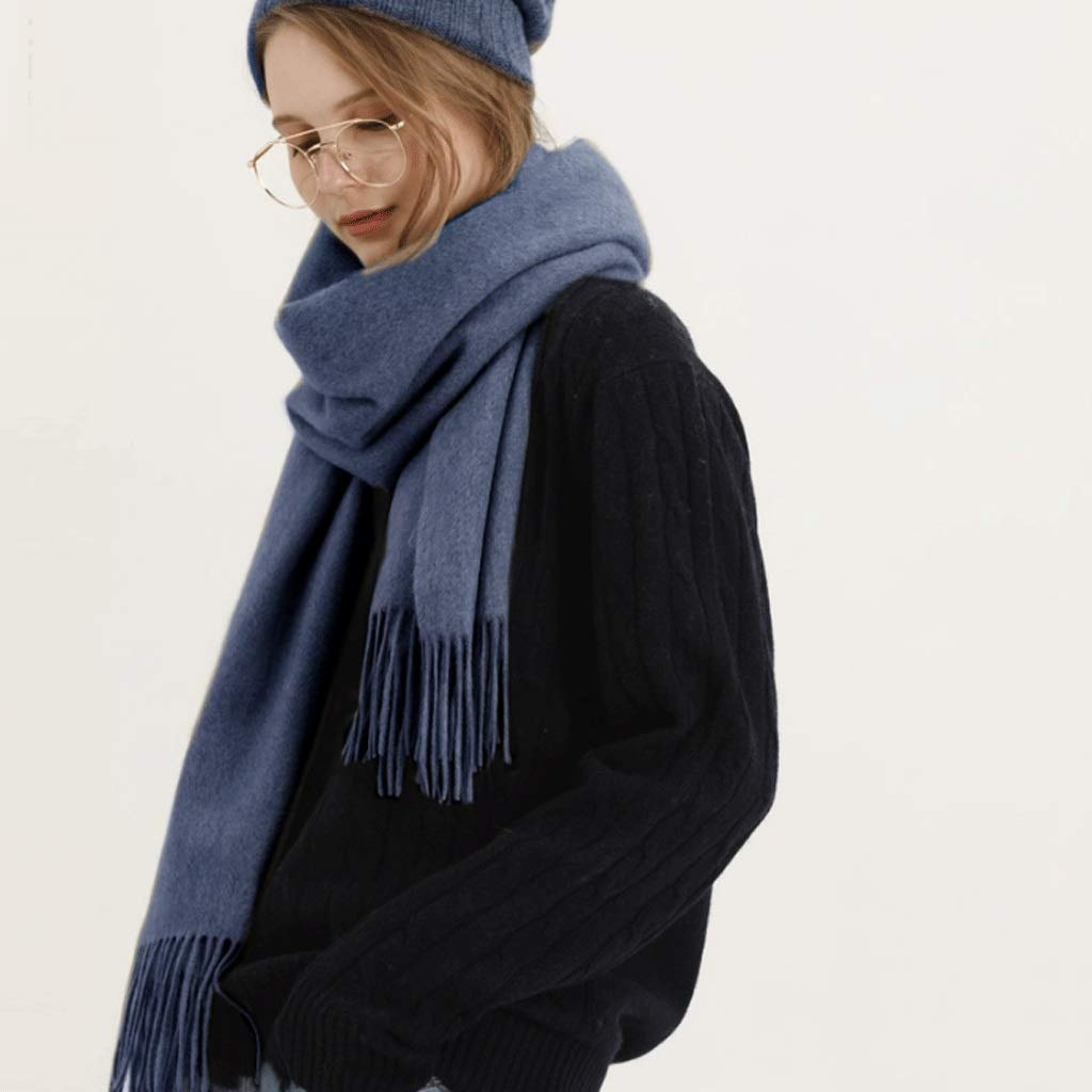 G Solid color Wool Scarf Autumn and Winter Tassel Ladies Cashmere Warm Shawl Bib Dual Purpose (color   G)