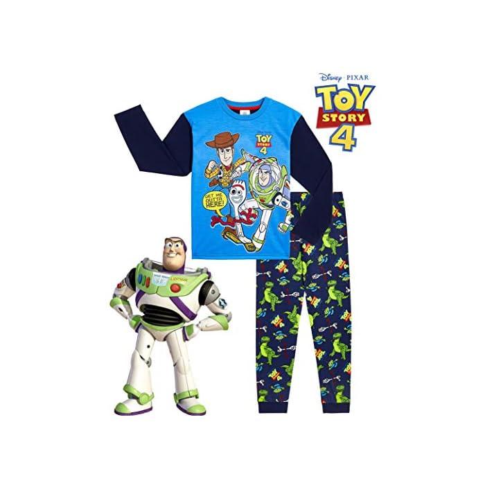 51e2mj8FoJL ✔ PIJAMAS DE TOY STORY --- Este conjunto de pijama de 2 piezas viene con una camiseta azul de manga larga que presenta a tus personajes favoritos de Toy Story 4, Buzz Lightyear, Woody y Forky con pantalones largos a juego. Estos pijamas son son perfectos tanto como ropa de dormir como para estar en casa jugando. ✔ TALLAS DISPONIBLES --- Nuestros magníficos pijamas niños de Toy Story están disponibles en tallas para edades: 18/24 meses, 2/3 años, 4/5 años, 5/6 años, y 7/8 años. Pida la talla que adquiere normalmente en las tiendas y no tendrá problemas. 100% Algodón