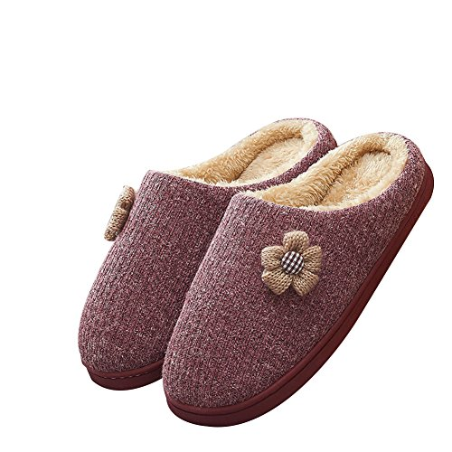 TELLW Autumn Winter Warm Cotton Winter and Red Women Men Bottom Slippers Cute Plush Slippers Thick xr0HqrYAw