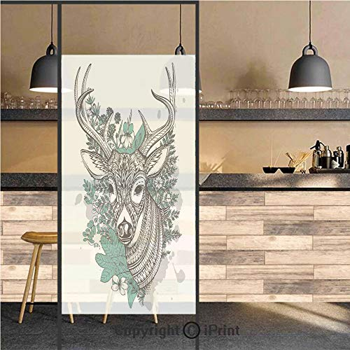 3D Decorative Privacy Window Films,Horned Deer with High Details Ornament Flowers and Herbs Plants Forest Decorative,No-Glue Self Static Cling Glass film for Home Bedroom Bathroom Kitchen Office 24x71