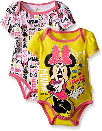 Disney Baby Minnie Mouse Adorable Soft 2 Pack Bodysuits, Yellow, 0-3 Months (Adorable Mouse)