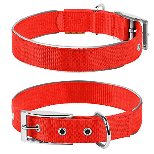COLLAR Nylon Reflective Dog Adjustable Dog with Metal Buckle - Heavy Duty Small Medium Large Dogs Puppy - Red Blue Black Safety Plus (M 15