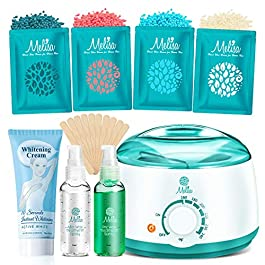 2020 Modle Waxing kit + Whitening Cream for Armpits, Intimate Parts, Between Legs – Hair Removal Wax Warmer 4 Hard Wax Beans 20 Wax Applicator, Waxing Kit for Body, Eyebrows, Face, Bikini for Women
