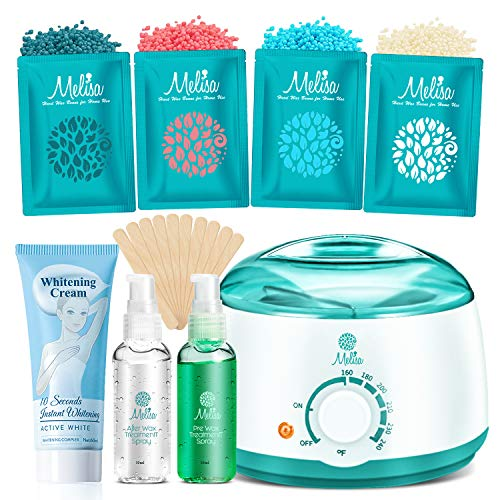 2020 Modle Waxing kit + Whitening Cream for Armpits, Intimate Parts, Between Legs - Hair Removal Wax Warmer 4 Hard Wax Beans 20 Wax Applicator, Waxing Kit for Body, Eyebrows, Face, Bikini for Women