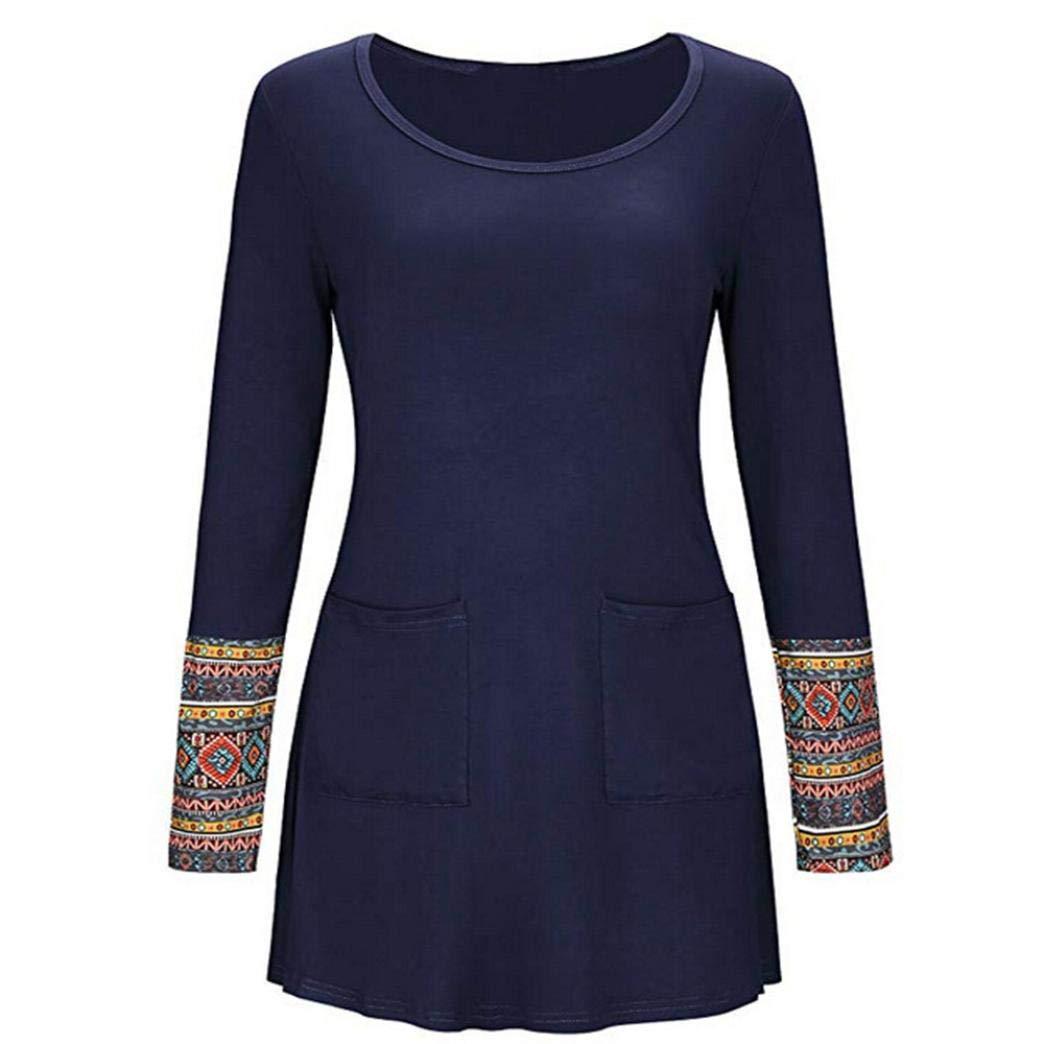 Belasdla Mujer Elegante Camisa De Manga Larga Bolsillo Imprimir Costura Camiseta Top: Amazon.es: Ropa y accesorios