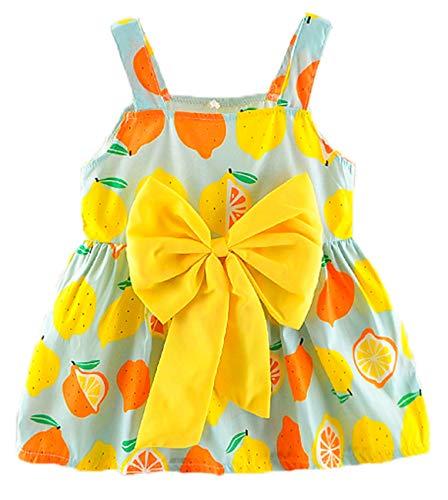 RJXDLT Baby Girls Sling Bowknot Lemon Print Skirt Dress 1-2 Years Green 365 ()