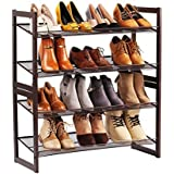 LANGRIA 4-Tier Utility Shoe Rack Metal Stackable ShoeTower Shelf Storage Organizer Cabinet for Entryway Closet Living Room Bedroom,Bronze