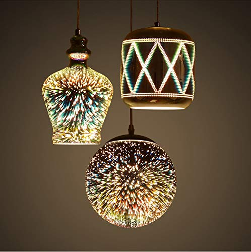 U-Enjoy Kronleuchter Bunte Led E27 Glas Top-Qualität Led-Lampe Led-3D-Effekt Eisen Licht Pendelleuchten Pendelleuchte Pendelleuchte Für Dinning Room Foyer Kostenloser Versand [Typ C]