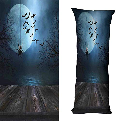 Couple Pillowcase Halloween Decorations Misty Lake Scene Rusty Wooden Deck Spider Eyeball and Bats Moonlight Soft and Comfortable W23.5 xL67 Blue -