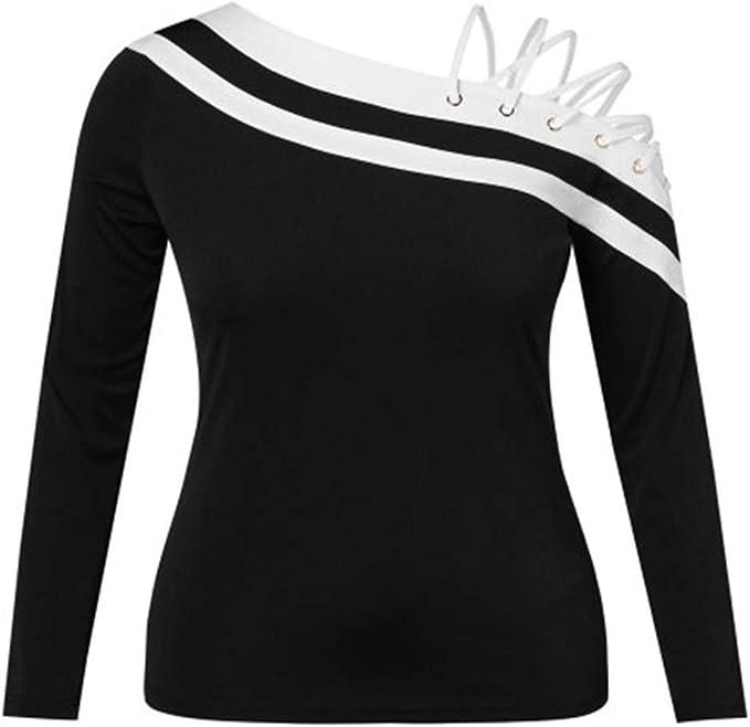 OtoñO Superior De Las Mujeres Mangas Largas FloracióN Hombro Redondo Lazo Top Negro Y Blanco Hombro Elegante Camisa De Dama por Linlink: Amazon.es: Ropa y accesorios
