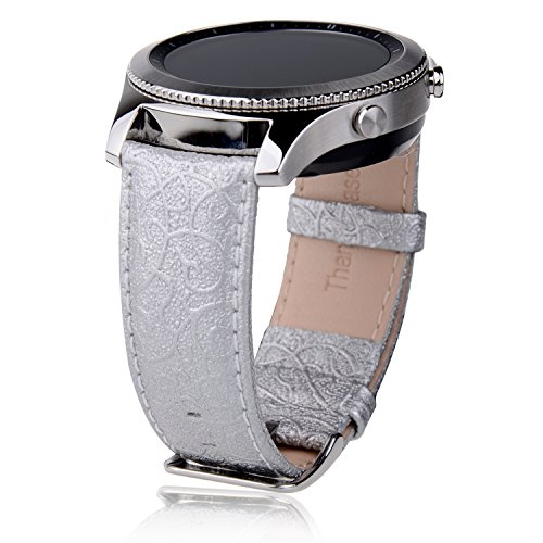 Thankscase Samsung Galaxy Watch 46mm Band, Samsung Gear S3 Classic/Frontier Band, Genuine Leather Wrist Strap Replacement with Embossed Pattern for Galaxy Watch 46mm and Gear S3 only (Silver)