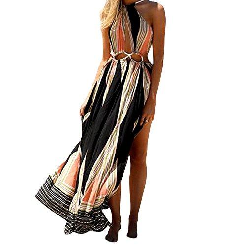 [TrendsGal Women's Bohemian Sleeveless Cut Out Printed Maxi Beach Dress(Black L)] (Sleeveless Printed Cut Out)
