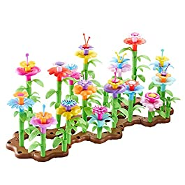 Auch Flower Building Toy Garden Building Blocks Toy Set for Kids, 104 PCS Educational Toy Creative Playset for Age 4,5,6,7 Year Old Gifts