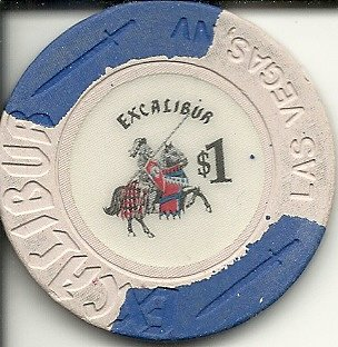 $1 the excalibur obsolete las vegas casino chip