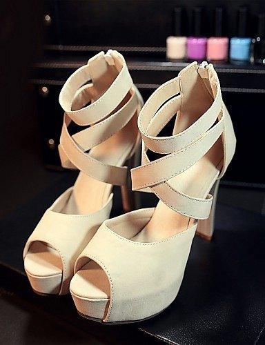 ShangYi Womens Shoes Leatherette Stiletto Heel Peep Toe Sandals Wedding / Office & Career / Party almond