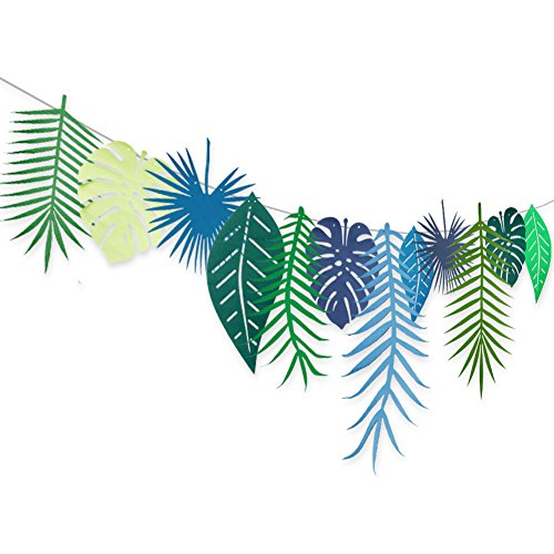 Tropical Theme (UTOPP Tropical Leaf Garland Forest Theme Party Banner For Laua Party Bunting Festival Party Decoration Wedding Birthday Party St Patricks Day Decor)