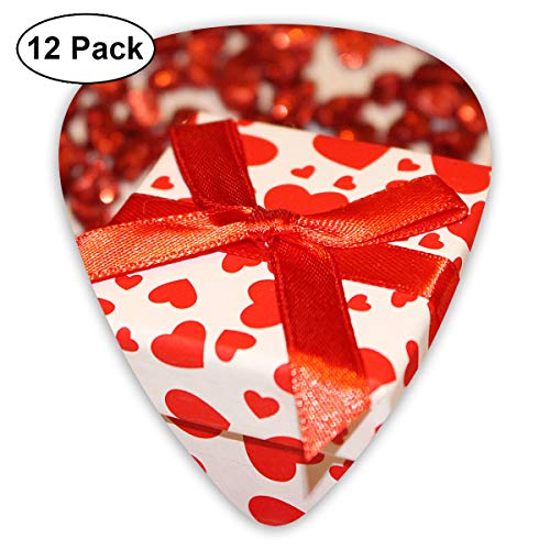 Red White Heart Print Box Small Medium Large 0.46 0.73 0.96mm Mini Flex Assortment Plastic Top Classic Rock Electric Acoustic Guitar Pick Accessories Variety Pack -