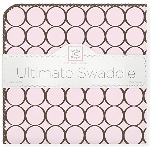 Mod Circles Pink (SwaddleDesigns Ultimate Swaddle Blanket, Made in USA Premium Cotton Flannel, Brown Mod Circles on Pastel Pink)