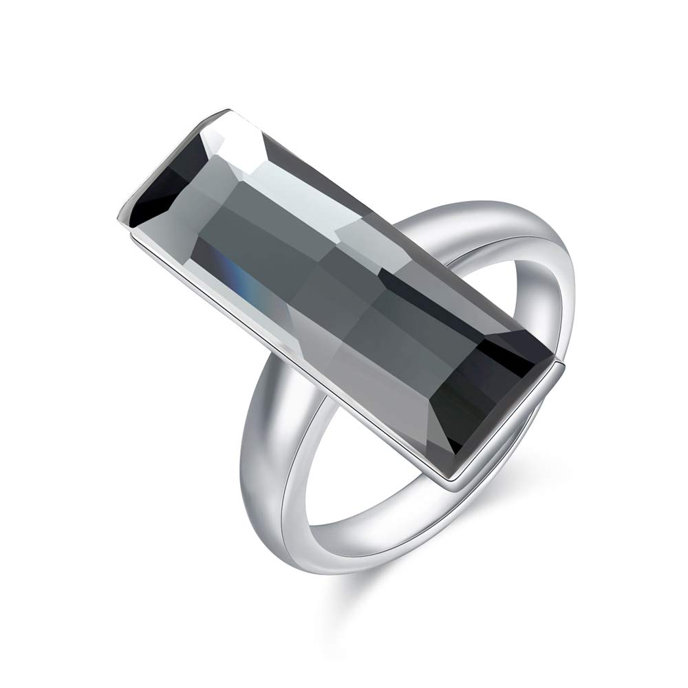 dnswez Grey Color Rectangle Crystal Ring Square Geometric Fashion Jewelry Prom Party Original Design Big Crystal Ring Size 6