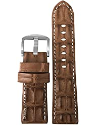 20mm XL Cognac Genuine Hornback Alligator Watch Band with White Stitching by Panatime 135x85