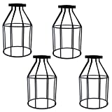 4pcs Vintage Lampshade, Motent Industrial Retro Metal Bird Cage Edison Bulb Guard, Iron Wrought 1-Light Lamp Holder, Creative DIY Lighting Fixture, 4.7'' Dia for Pendant Light Wall Lamp - Wine Bottle