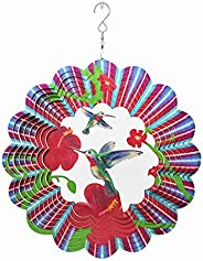 3D Colorful Metal Swivel Wind Chimes Hanging Geometric Pattern Wind Spinner with S Hook Suit for Indoor Outdoo