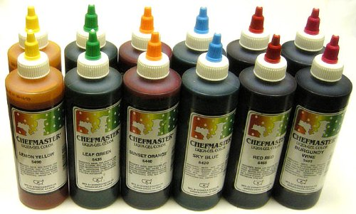 Chefmaster Liqua-Gel Variety Pack, Twelve 10-1/2 Ounce Bottles (6 Colors, 2 of Each) by Chef-Master