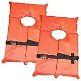 Marketworldcup-2 Pack Type II Orange Life Jacket Vest - Adult Universal Boating PFD Water sport
