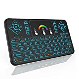 HENRYTECH Mini Wireless Keyboard with Touchpad,2.4GHz Rechargable Li-ion Battery Colorful Backlit Keyboard,Handheld Remote Control for Android TV Box, Windows PC, HTPC, IPTV, XBOX 360, PS3