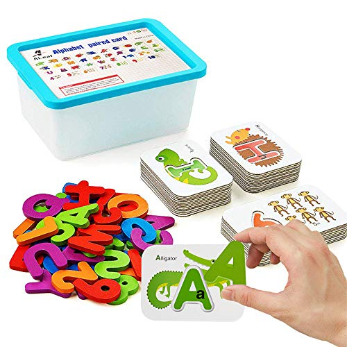 Alphabet and Number Flash Cards, ALeaf Preschool Learning Educational Montessori Toys, Double-Sided Stereo Puzzle Game  , Girls  Boys  Age 3-8Years Old