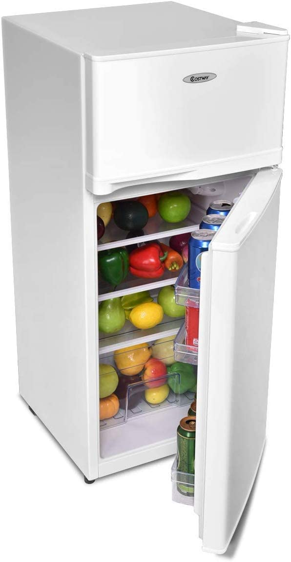 ReunionG 2-Door Compact Refrigerator Capacity Freezer Unit with Removable Glass Shelves and Adjustable Legs for Kitchen Apartment and Office ft Dorm White Counter Fridge with Large 3.4 cu
