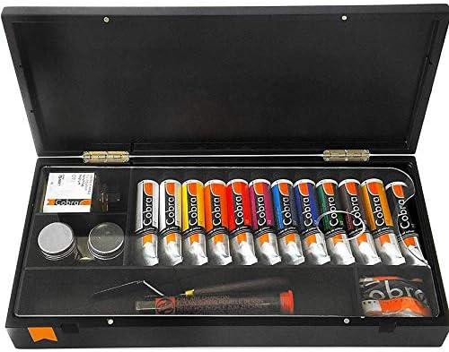 Royal Talens – Cobra artista juego de pintura al óleo diluible en agua (en color negro caja de regalo – con acuarelas, paleta, cepillos y: Amazon.es: Oficina y papelería