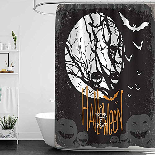 Tim1Beve Bath Shower Curtain,Vintage Halloween Halloween Themed Image with Full Moon and Jack o Lanterns on a Tree,Shower Curtain bar,W47x63L Black White -