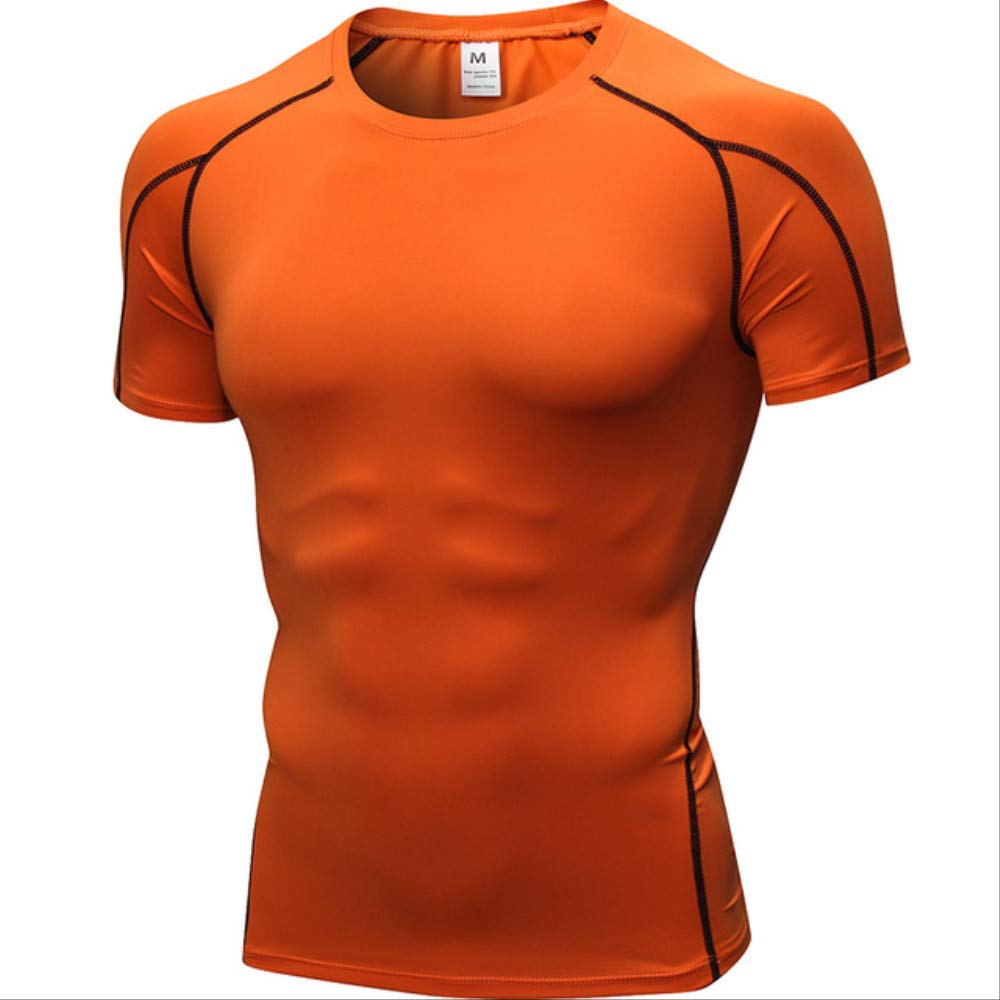 Orange L NUASH VêteHommests de Sport à séchage Rapide Maillots de Course serrés pour la Course à Pied T-Shirts Courts