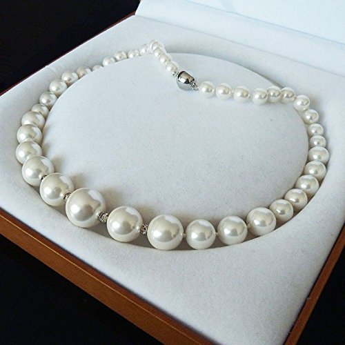 RARE REAL 8-16MM SOUTH WHITE SEA SHELL PEARL NECKLACE RING EARRINGS 18
