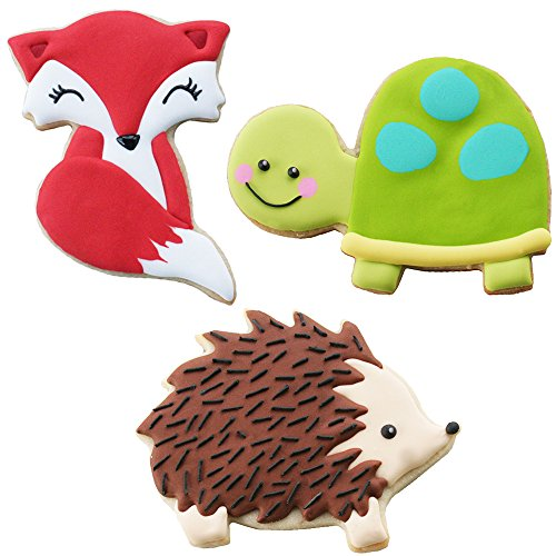 Sweet Elite Tools- Woodland Animals Stainless Steel Cookie Cutter Set: Fox, (or Raccoon and Skunk), Hedgehog, and Turtle By Autumn Carpenter